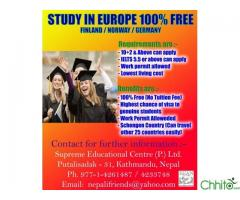 STUDY AT 100% FREE in Europe