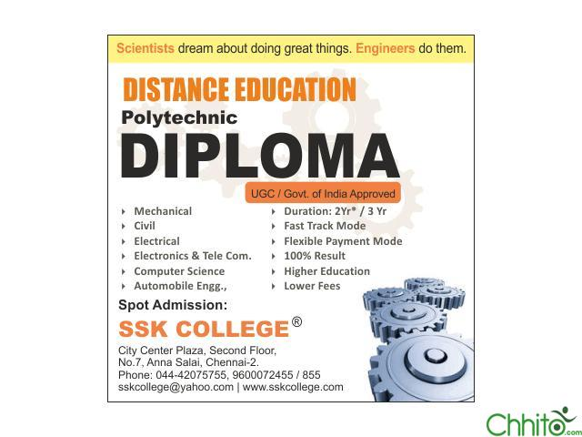 Diploma Correspondence and B.Tech Distance Education