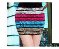 Striped Knitting Mini Skirt